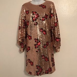 Long Sleeve Sequin Sheath Dress